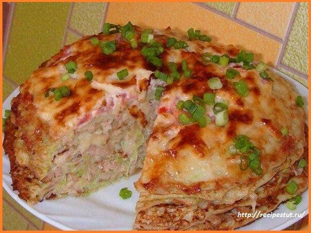 Кабачково сырный тортик с мясом рецепт с фото пошагово